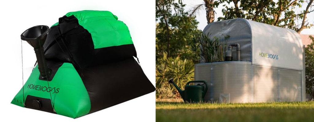 Micro-unité de méthanisation : l'une gonflable, en forme de tente, l'autre plus rigide, en forme de petite serre.