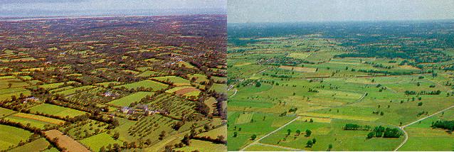 Vues aériennes d'un paysage bocager et d'un paysage où les haies ont été arrachées. La trame verte et bleue est rompue dans ce dernier cas.