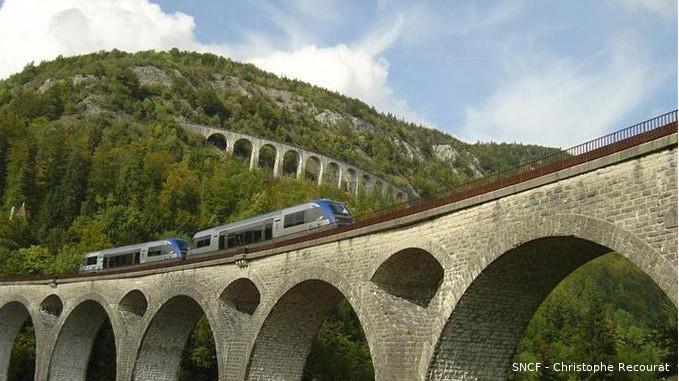 Vue en contre-plongée de deux ponts ferroviaires en pierre, dans un paysage de montagne. Le train est un des moyens de transport à privilégier pour le tourisme écologique.
