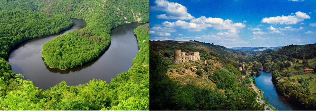 Un méandre de la Sioule, entouré de forêt, château surplombant la rivière.