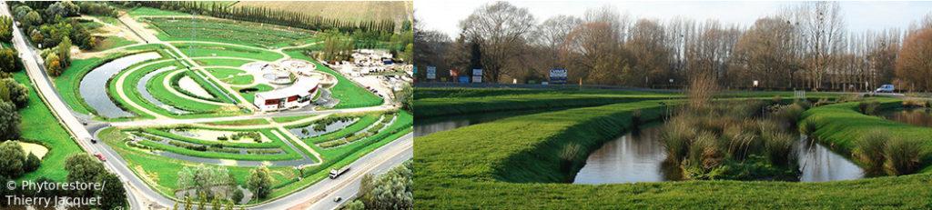 Assainissement écologique : bassins paysagers en cercles concentriques, avec allées pour les visiteurs