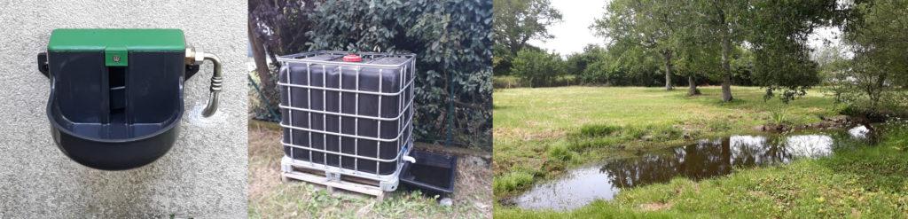 Exemple de systèmes d'abreuvement assurant le bien-être animal : un abreuvoir automatique installé sur un mur, une cuve de 1000 litres noir et grillagée, une mare naturelle dans une prairie
