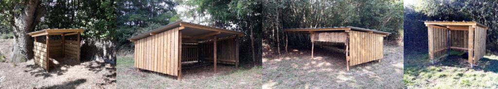 Différents types d'abri de la société Les Pâturages du Littoral : petit ou grand abri, toiture bac acier, bardage bois. On ne lésine pas sur le bien-être animal !