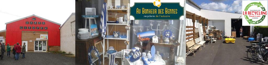Vue extérieur du Bazar Citoyen (Savenay), vue d'une vitrine réalisée avec des objets évoquant la mer (blanc et bleu) au Bonheur des Bennes (Saint-Nazaire), vue extérieur de La Recyclane (Guérande). Exemple d'économie circulaire locale