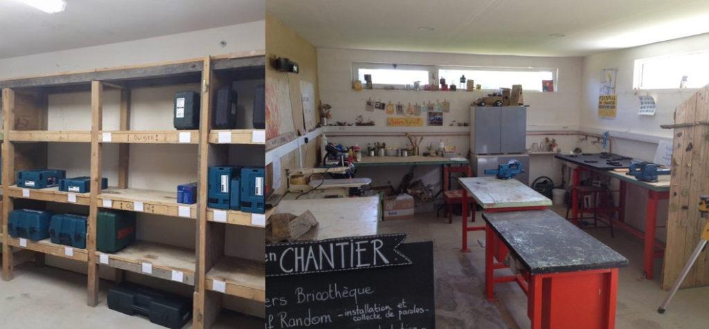 Économie collaborative : étagères de bricothèque avec outils électroportatifs et vue d'un atelier