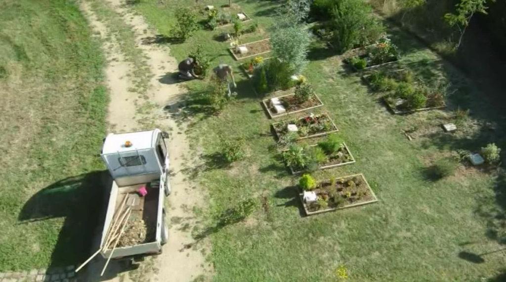 Vue aérienne du cimetière écologique : tombes simplement entourées de planches de bois, plantées de végétaux, pelouse et arbres