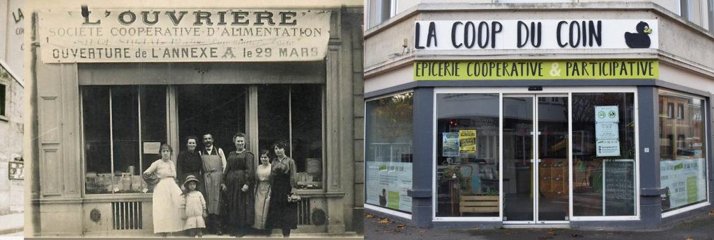 Une épicerie ouvrière  19ème siècle, photo en noir et blanc, ouvriers posant devant (à gauche), à droite : façade et vitrine contemporaine.