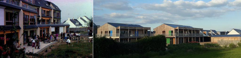 Bâtiment des années 80 (à gauche), bâtiment en bois (à droite), larges baies vitrées.