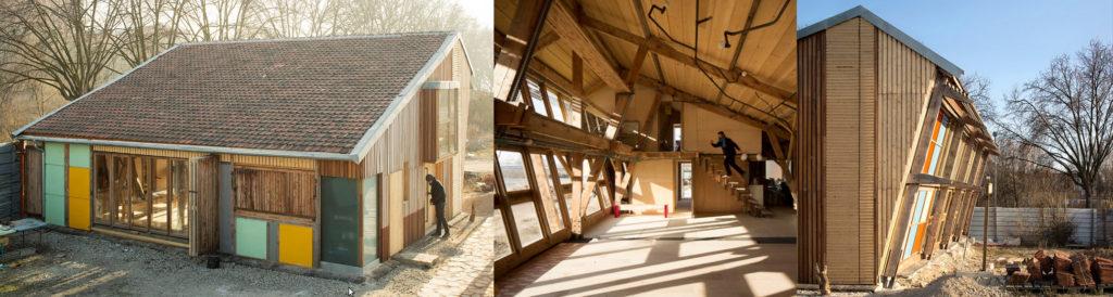 De gauche à droite : vue extérieure du bâtiment, panneaux colorés, tuiles mécaniques anciennes, bois. Vue intérieure : grande baies vitrées, charpente bois, grande hauteur sous plafond. Vue de la façade extérieure sud, oblique