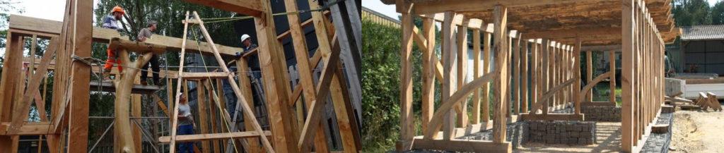 """Deux photos d'une ossature bois traditionnelle (type """"colombage) avant remplissage entre les poutres"""