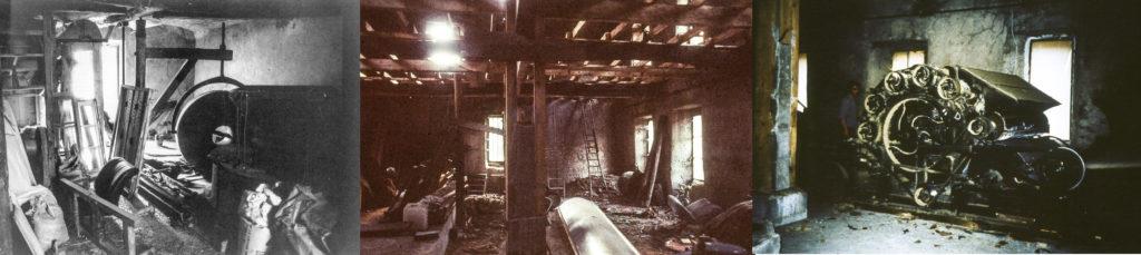 Photographie de la filature ardéchoise avant rénovation : vues intérieures, machines en mauvais état, trous dans la toiture, pièces désaffectées