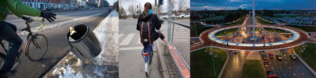 Aménagement pour inciter au déplacement à vélo : cycliste lançant des déchets en roulant dans une poubelle penchée, jeune femme vue de dos arrêtée à un feux et posant son pied sur un repose-pied (évite de descendre de la selle), rond-point à l'architecture contemporaine pour cyclistes