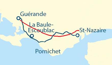 Carte de la presqu'île guérandaise présentant deux voies de circulation entre Saint-Nazaire et Guérande : la piste cyclable vélocéan qui serpente et la voie express, au tracé bien plus direct. La voie cyclable a un parcours quasiment deux fois plus long et nuit à un déplacement à vélo régulier