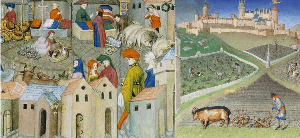 Enluminures du Moyen-Âge avec des animaux : à gauche, vue d'une foire, maisons au premier plan, animaux et divers vendeurs sur une place pavée. À droite (du premier plan au dernier) : laboureur avec des bœufs, travailleur dans des vignes,homme qui sème, berger avec son troupeau, ville fortifiée