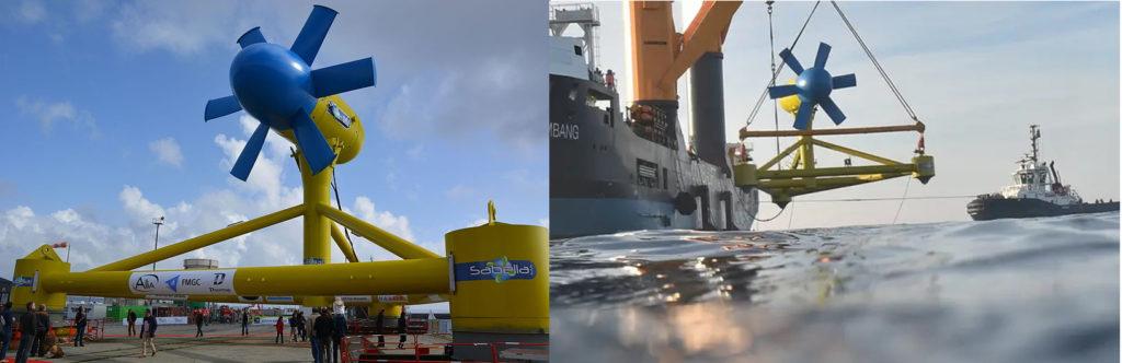 Une source d'énergie renouvelable originale permettant la lutte contre le changement climatique sur l'île d'Ouessant : l'hydrolienne Sabella. Image de droite : l'hydrolienne mise à l'eau par un bateau avec une grue.