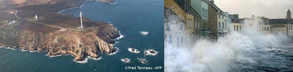 Deux photographies illustrant le changement climatique et la montée des eaux sur les îles bretonnes : à gauche, photo aérienne de l'île d'Ouessant, avec ses falaises, à droite, photo du port de l'île de Sein, à fleur d'eau, submergé par les vagues