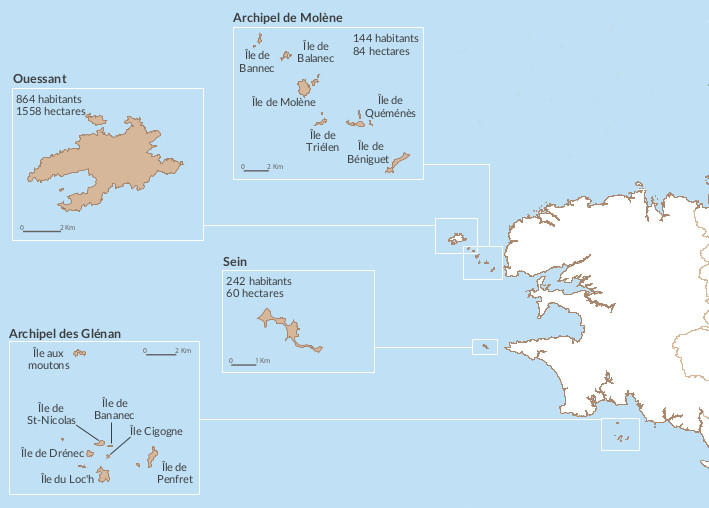 Carte des îles bretonnes. Du haut en bas :  archipel de Molème, île d'Ouessant (face à la pointe St-Mathieu) ; île de Sein (face à la pointe du Raz) ; archipel des Glénan (au sud de la baie de Concarneau)