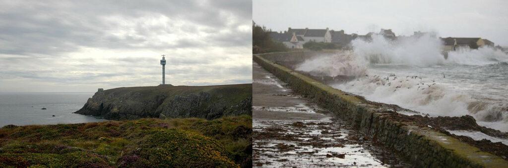 Deux photographies illustrant le changement climatique et la montée des eaux sur les îles bretonnes : à gauche, photo aérienne de l'île d'Ouessant, avec ses hautes falaises, à droite, photo de l'île de Sein, à fleur d'eau, digue submergée par les vagues lors d'une tempête